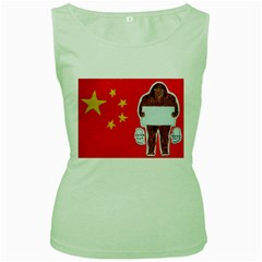 Yeh Ren Text On Chinese Flag  Women s Tank Top (Green)