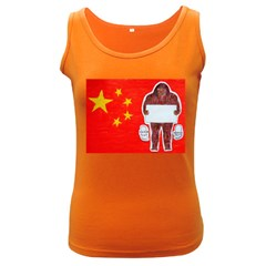 Yeh Ren Text On Chinese Flag  Women s Tank Top (Dark Colored)