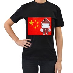 Yeh Ren Text On Chinese Flag  Women s T Shirt (black)