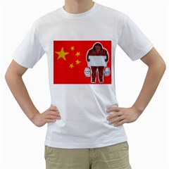 Yeh Ren Text On Chinese Flag  Men s T-Shirt (White)