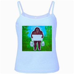 Yeh Ren Text,in Forest  Baby Blue Spaghetti Tank