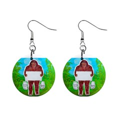 Yeh Ren Text,in Forest  Mini Button Earrings