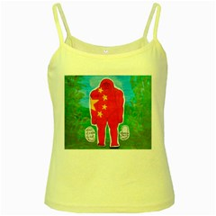Flag Yeh Ren In Forest  Yellow Spaghetti Tank
