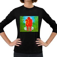 Flag Yeh Ren In Forest  Women s Long Sleeve T-shirt (Dark Colored)