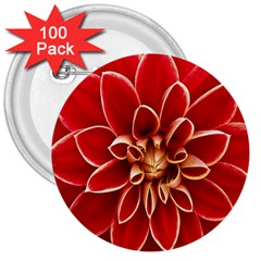 Red Dahila 3  Button (100 pack)