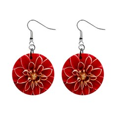 Red Dahila Mini Button Earrings