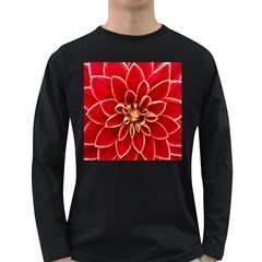 Red Dahila Men s Long Sleeve T-shirt (Dark Colored)