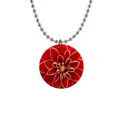 Red Dahila Button Necklace