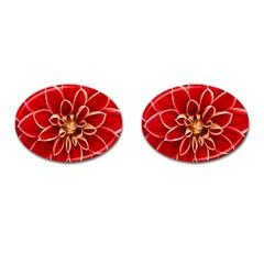 Red Dahila Cufflinks (Oval)