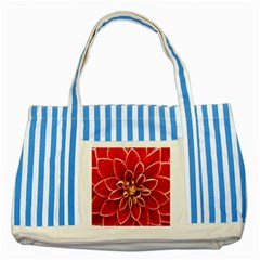 Red Dahila Blue Striped Tote Bag