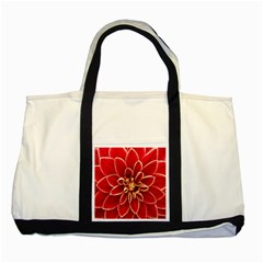 Red Dahila Two Toned Tote Bag