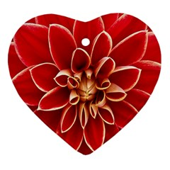Red Dahila Heart Ornament (Two Sides)
