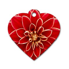 Red Dahila Dog Tag Heart (Two Sided)