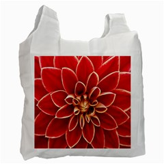Red Dahila White Reusable Bag (Two Sides)