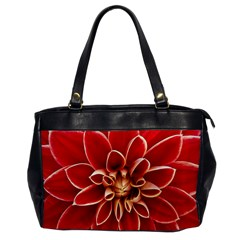 Red Dahila Oversize Office Handbag (one Side)