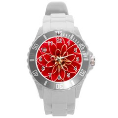 Red Dahila Plastic Sport Watch (Large)