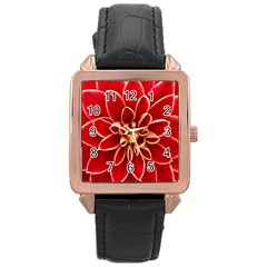 Red Dahila Rose Gold Leather Watch