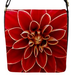 Red Dahila Flap Closure Messenger Bag (Small)