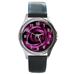 Deep Purple Rose Round Leather Watch (silver Rim)