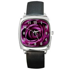 Deep Purple Rose Square Leather Watch
