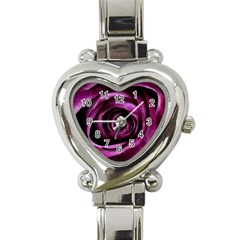 Deep Purple Rose Heart Italian Charm Watch