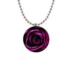 Deep Purple Rose Button Necklace