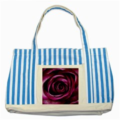 Deep Purple Rose Blue Striped Tote Bag