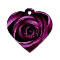 Deep Purple Rose Dog Tag Heart (two Sided)