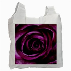 Deep Purple Rose White Reusable Bag (Two Sides)