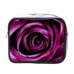 Deep Purple Rose Mini Travel Toiletry Bag (One Side)