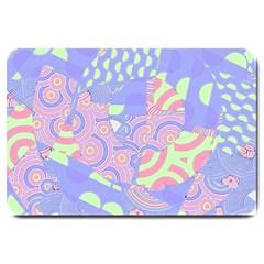 Girls Bright Pastel Summer Design Blue Pink Green Large Doormat