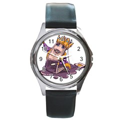 Royaltea Round Leather Watch (Silver Rim)