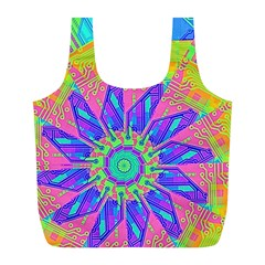 Neon Flower Purple Hot Pink Orange Full Print Recycle Bag (L)