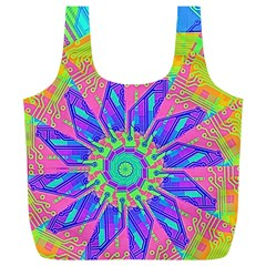 Neon Flower Purple Hot Pink Orange Full Print Recycle Bag (XL)