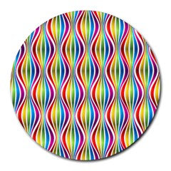Rainbow Waves 8  Mouse Pad (Round)