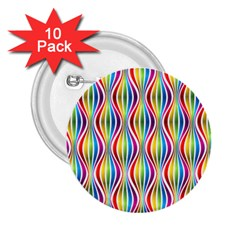Rainbow Waves 2 25  Button (10 Pack)