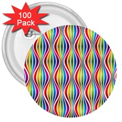 Rainbow Waves 3  Button (100 pack)