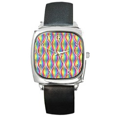 Rainbow Waves Square Leather Watch
