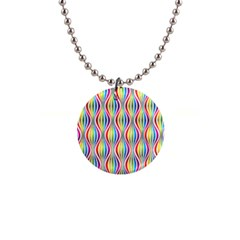 Rainbow Waves Button Necklace