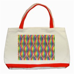 Rainbow Waves Classic Tote Bag (Red)