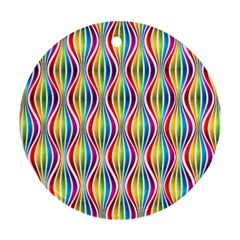 Rainbow Waves Round Ornament (Two Sides)