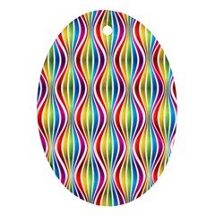 Rainbow Waves Oval Ornament (two Sides)