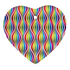 Rainbow Waves Heart Ornament (Two Sides)