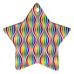 Rainbow Waves Star Ornament (Two Sides)