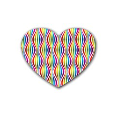 Rainbow Waves Drink Coasters (Heart)