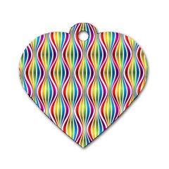 Rainbow Waves Dog Tag Heart (Two Sided)