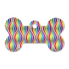Rainbow Waves Dog Tag Bone (One Sided)
