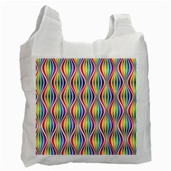 Rainbow Waves White Reusable Bag (one Side)