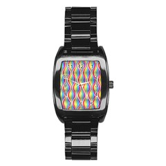Rainbow Waves Stainless Steel Barrel Watch