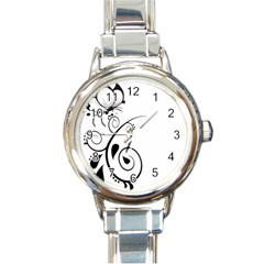 Floral Butterfly Design Round Italian Charm Watch